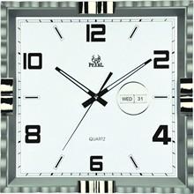 日历挂钟 电镀外框正方形挂钟 高档客厅挂钟 书房挂钟 厂家直销