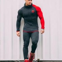 肌肉型兄弟运动套装健身服男长袖夜跑步套装训练服紧身衣一件代发