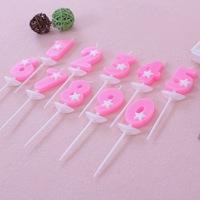 粉色数字生日蜡烛 创意五角星数字蜡烛 0-9 儿童生日数字蜡烛批发