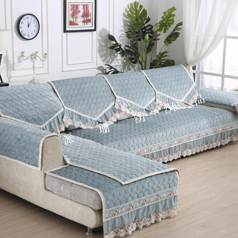 雪尼爾沙發墊布料 墊子半成品夾棉絎縫布 沙發套定制diy布料花邊圖片