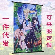 动漫海报挂画来图定制 游戏明星周边卷轴布艺墙画 跨境漫展装饰画