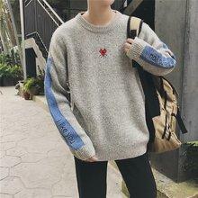 冬季男生刺繡休閑毛衣青少年韓版長袖拼色針織衫男裝批發一件代發