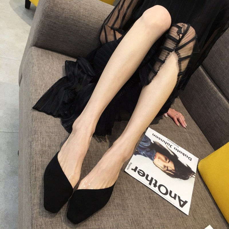 Fashion leopard stitching transparent square toe women mules NHHU147749
