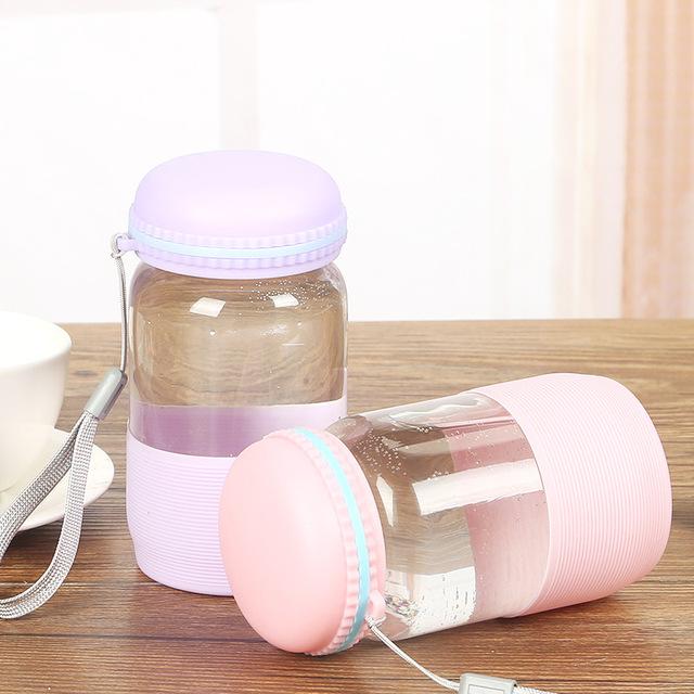 新款韩版可爱迷你马卡龙彩色单层玻璃杯子带盖创意定制logo礼品杯