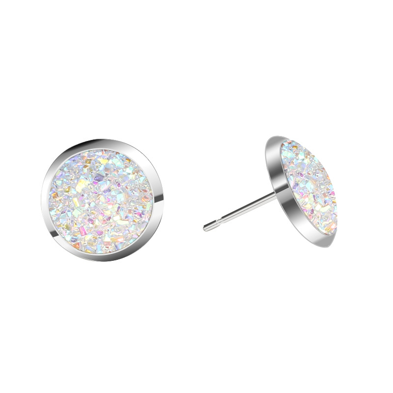 Korean hotselling silver inlaid crystal cluster wild multicolor natural stone round earrings  NHAN243310