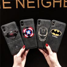 适用?#36824;?#26032;款潮牌贴皮漫威蝙蝠侠男款硅胶套iPhone超人浮雕手机壳