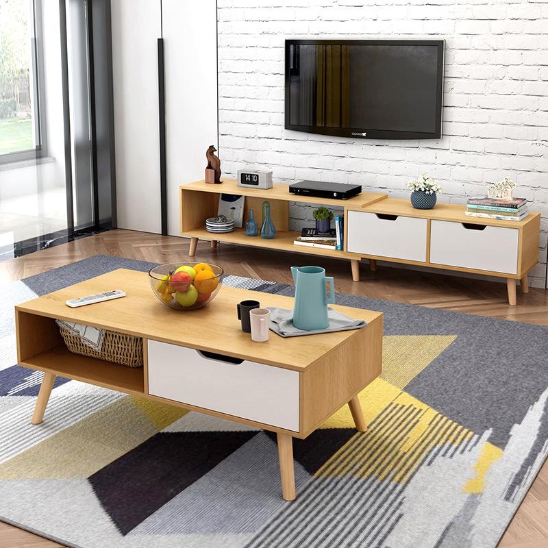 北欧茶几组合套装实木简约现代小户型客厅家具地柜电视柜