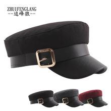 皮帶金屬扣皮檐海軍帽百搭毛呢秋冬保暖平頂帽韓國版鴨舌貝雷帽子