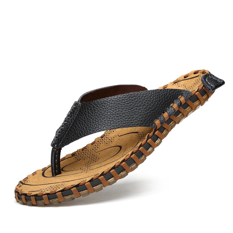 2019夏季人字拖男士拖鞋真皮休闲个性防滑夹脚沙滩凉拖沙滩鞋牛皮