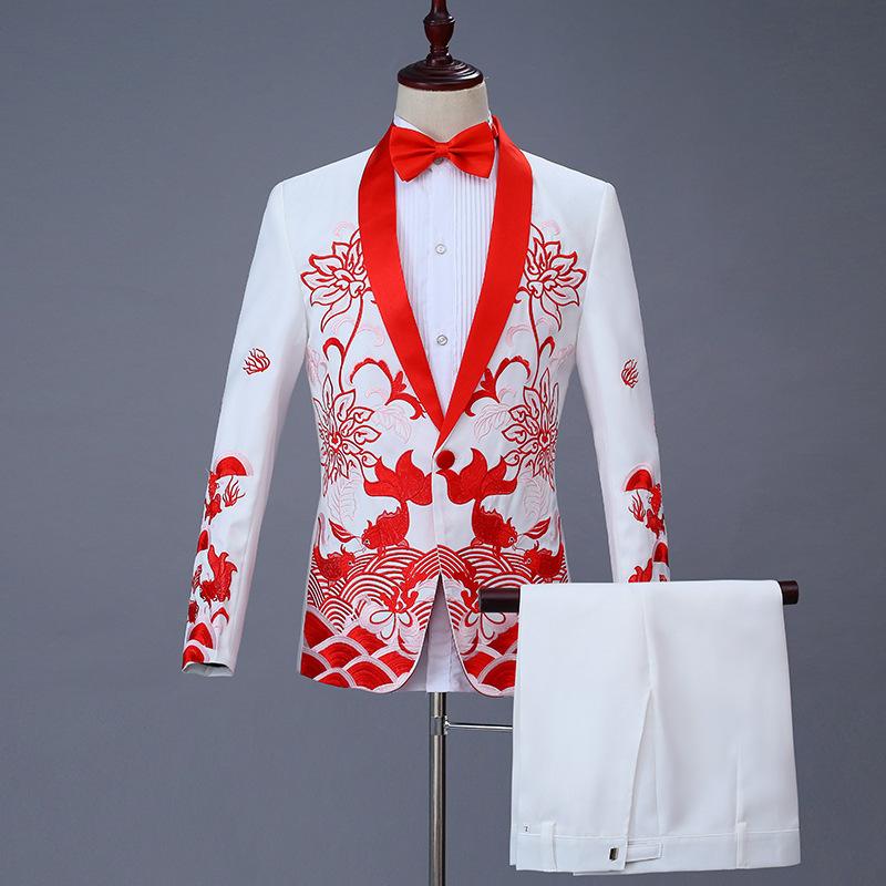Performance suit men's suit suit national adult wedding singer stage chorus dress