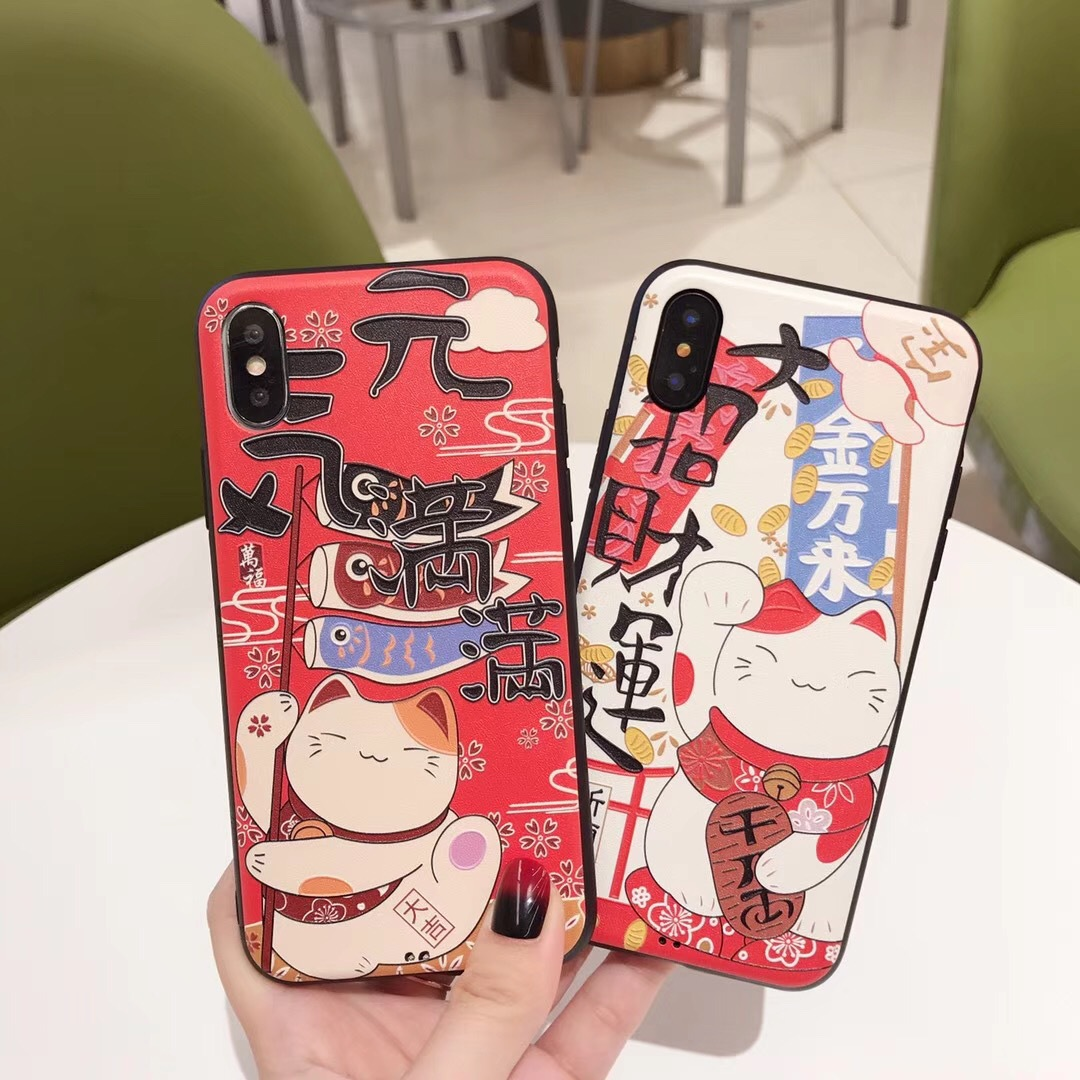 Applicable Apple 8plus mobile phone shell iPhone7 creative lucky cats full of embossed painted shell protective cover
