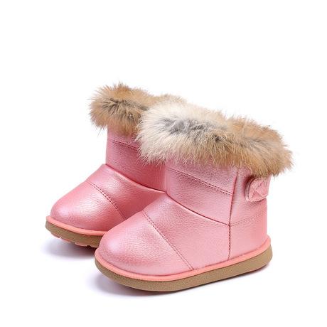 Ngoại thương trẻ em gái đi giày tuyết Phiên bản Hàn Quốc của bé gái mềm đáy bé dày lên thực sự lông thỏ tuyết bông tuyết AliExpress Giày cao cổ
