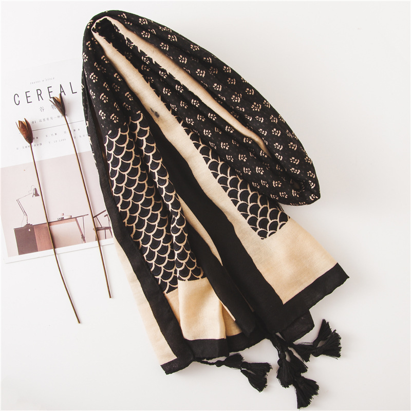 Fashion cotton and linen scarf black fish scale wild long style increase shawl wholesale NHGD199188