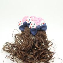 韓版兒童假發 蝴蝶結發夾 公主頭飾 女童卷發大波浪對夾 批發包郵