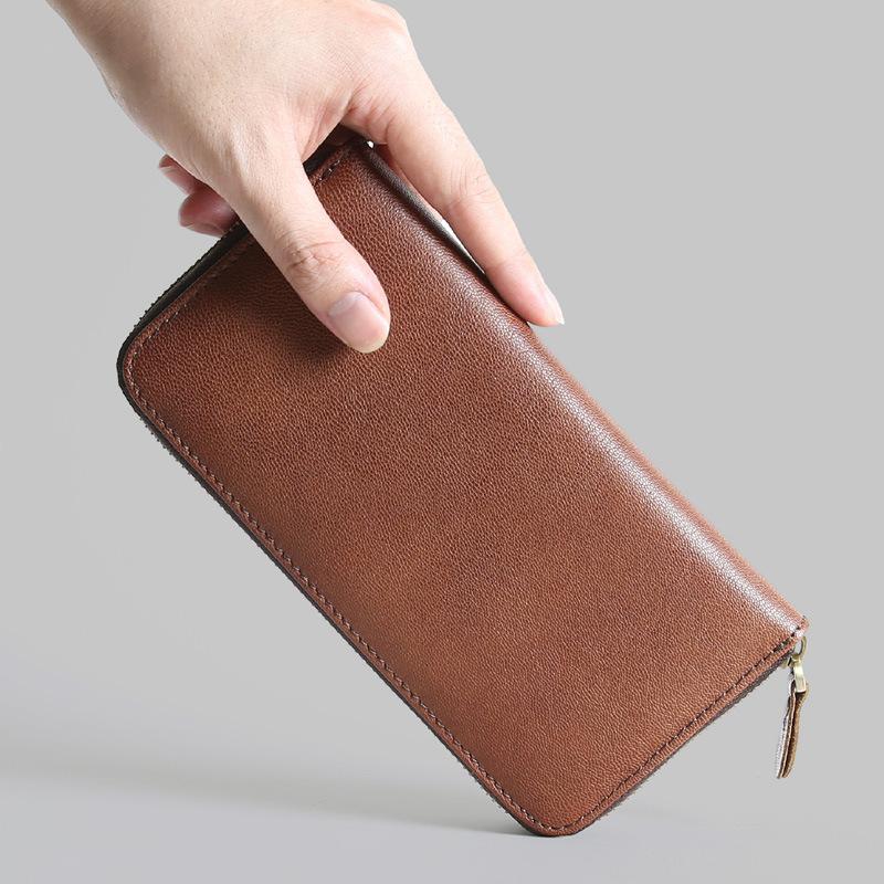 男士长款拉链真皮钱包男钱夹羊皮大容量商务手机手拿包青年女包潮