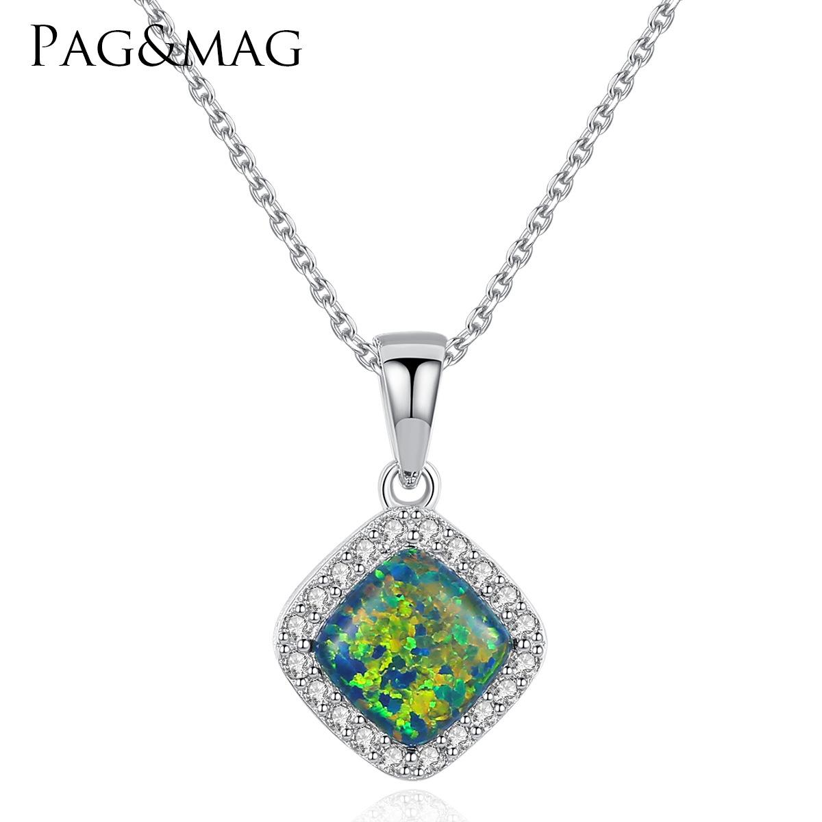 PAG&MAG 欧美流行方形澳宝镶锆石女款项链 纯银防过敏项链