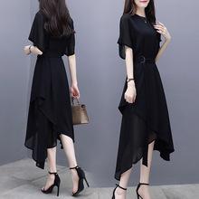 2020夏季女装新款修身中长裙短袖不规则气质名媛黑色雪纺连衣裙女