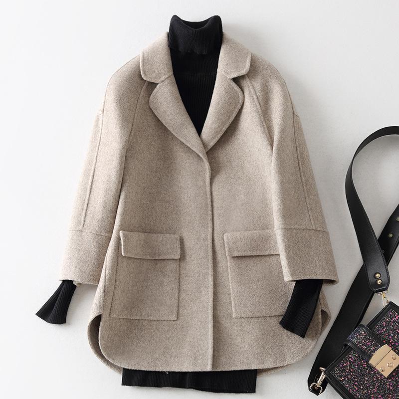 反季节清仓韩版短款小个子毛呢子外套双面羊毛女装羊毛秋冬装女