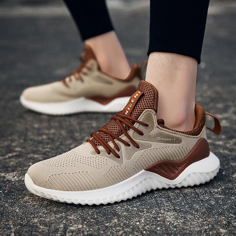 2020秋季大码时尚新款运动男鞋学生透气飞线跑步鞋男轻便1810男鞋
