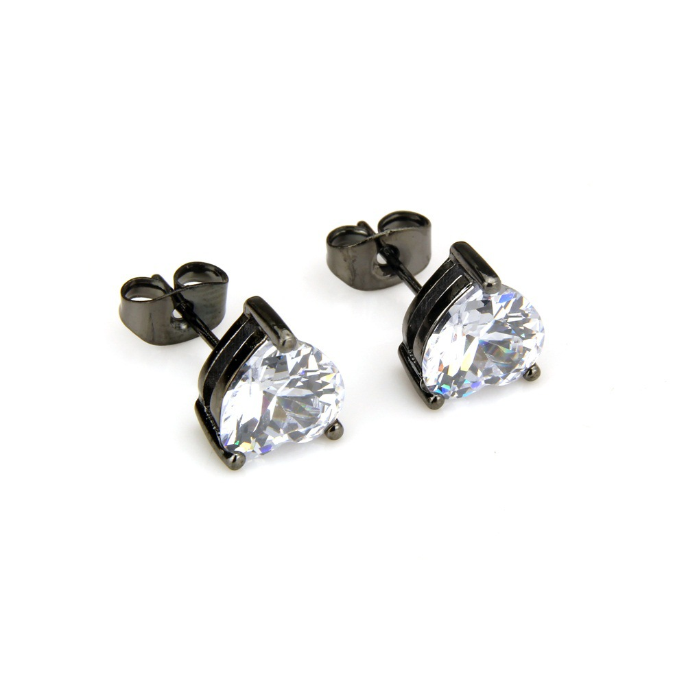 Copper Simple  earring  (Alloy-plated white zircon) NHBP0281-Alloy-plated-white-zircon