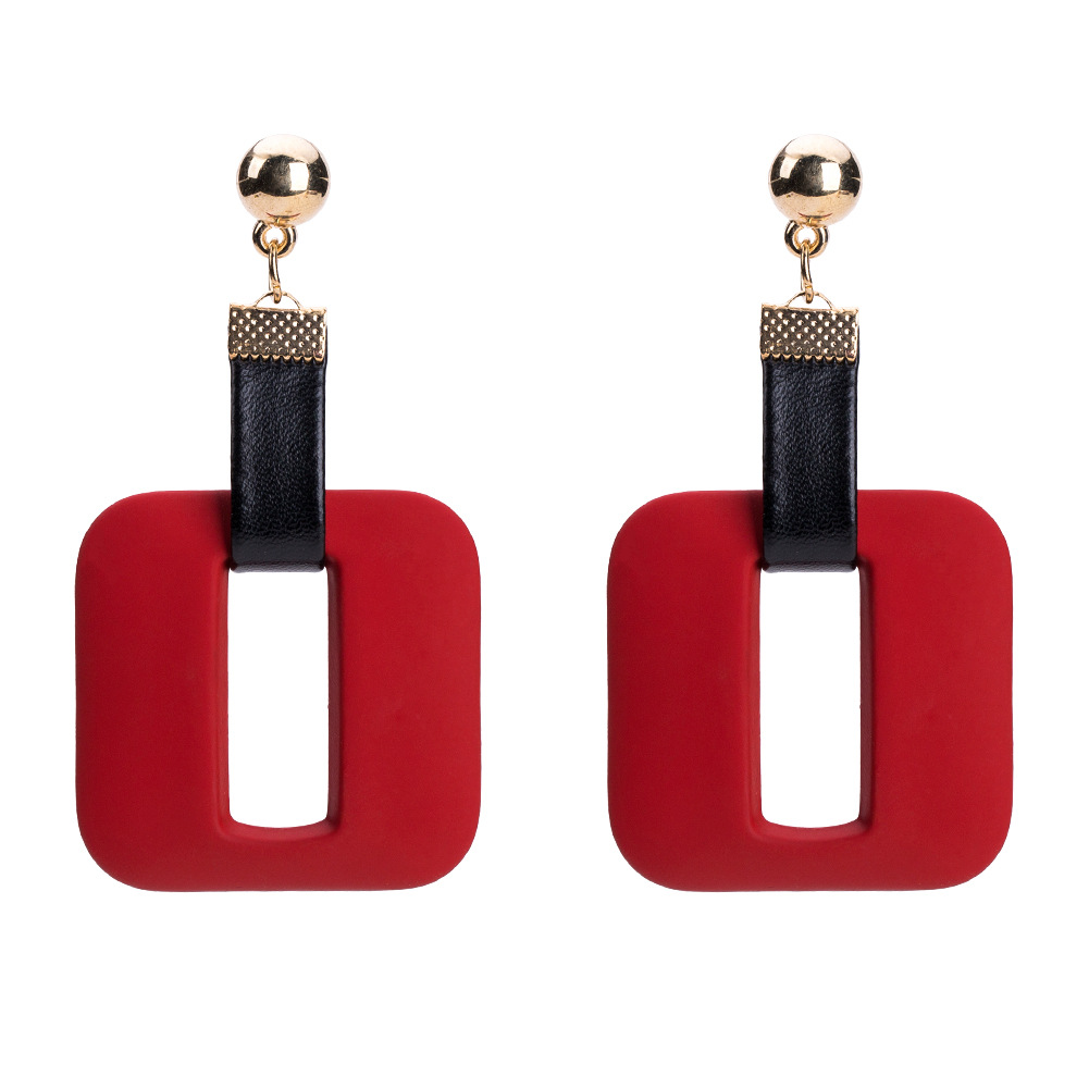 Alloy Fashion Geometric earring(red) NHJE1185-red