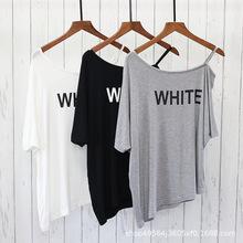 夏季新款 百搭不规则上衣女欧美风宽松显瘦大码露肩运动T恤罩衫潮