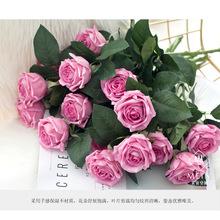 高仿真手感保湿玫瑰圆润茶月季仿真玫瑰花仿真花 批发结婚礼品