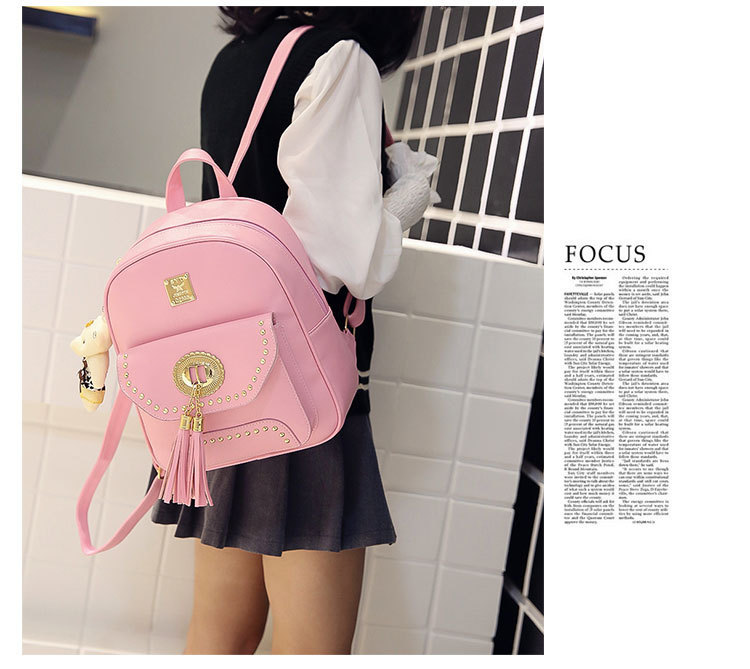 PU Fashion three-piece backpack tide rivet student backpack XC190413117241