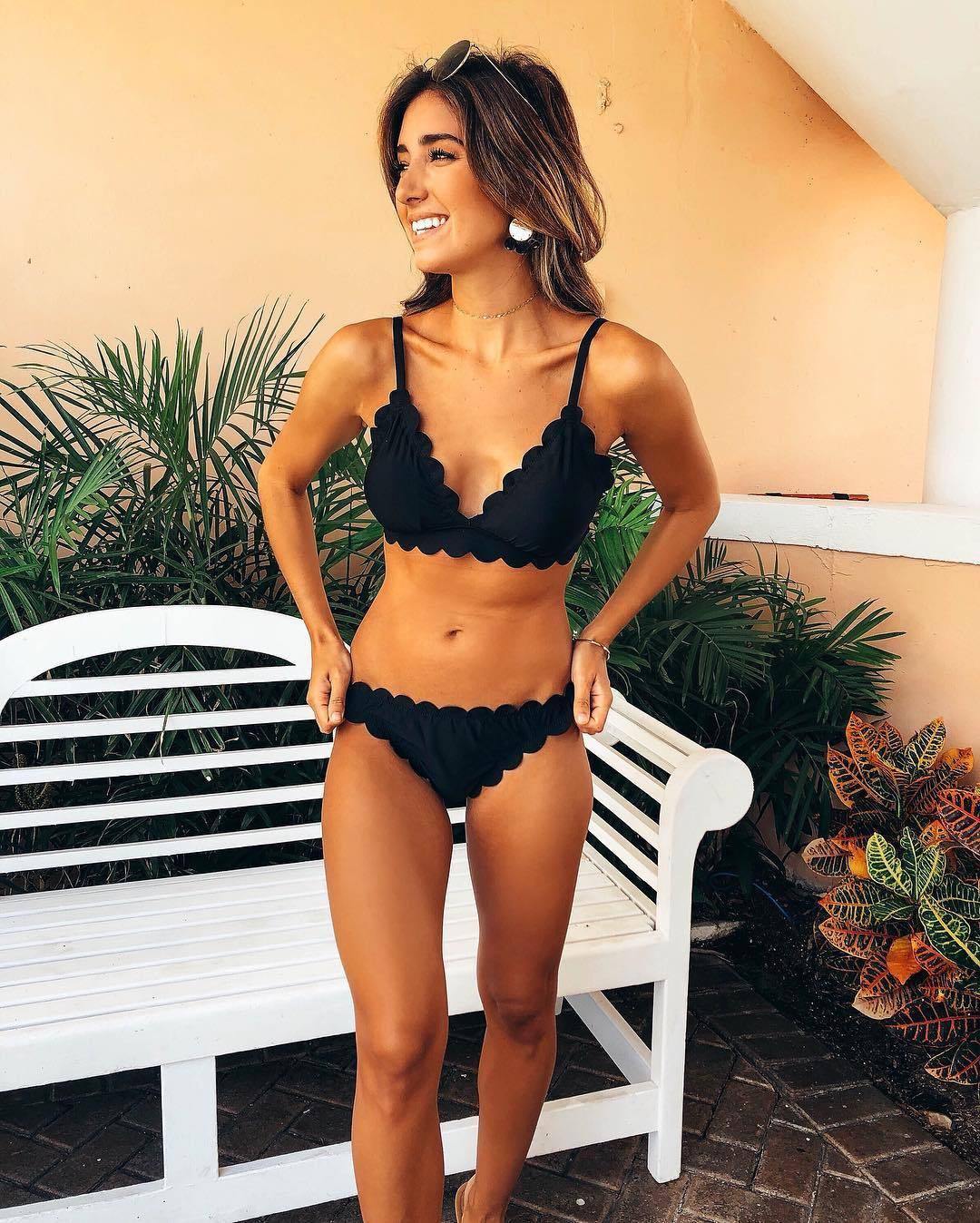 Factory direct sales new solid lace two piece women's swimsuit thin bikini