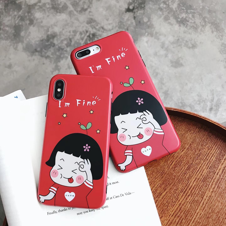 Korea super cute little girl apple x mobile phone case iphone8/7/6s girl cute expression mobile phone case