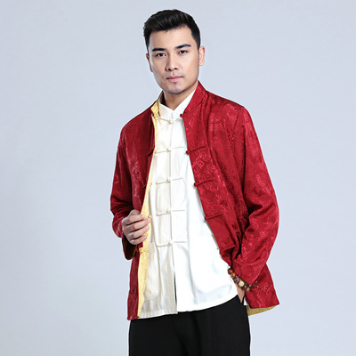 Menchinese tang suit coat long sleeve jacket men clothing men silk satin double-sided wear long sleeve clothes