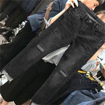 2018新款大码女胖mm秋装bf风大腿粗的牛仔裤子裤胖妹妹最爱显瘦潮