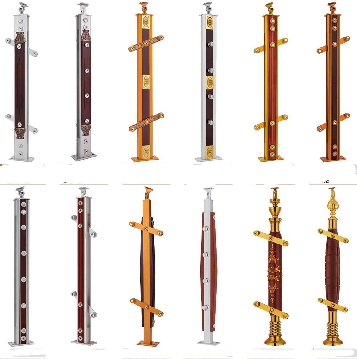 【在梯艺方】铝镁合金夹木楼梯立柱砂金栏杆扶手2082