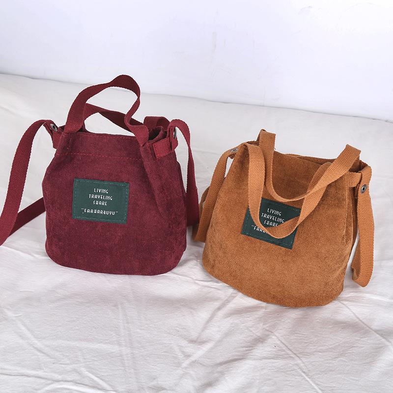 اليابانية والكورية الرجعية حقيبة قماش سروال قصير المرأة بسيطة بلون حقيبة الكتف الأدبية حقيبة يد حقيبة قماش دلو الأصلي