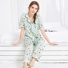 Yao Ting new simulation silk pajamas ladies summer short-sleeved trousers home service suit   TZ792