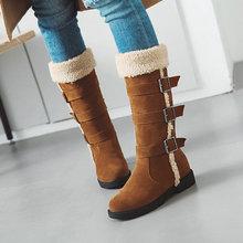 冬季爆款靴子人造長毛絨內增高休閑百搭低跟中筒雪地靴代發