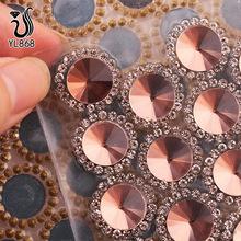 12MM平底卫星镜面玻璃 单圈包围间隔胶网钻 热熔背胶网钻外贸批发