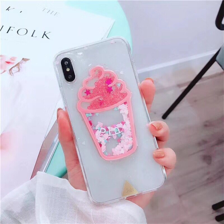 Apple x dog shell iPhone7/8p XR all-inclusive 6s transparent cute dream glitter ice cream XS max