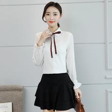 2018新款蝴蝶結襯衫修身氣質長袖女襯衣職業女裙套裝