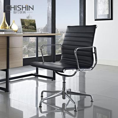 中高端产品智行家具 简约线条皮质办公转椅 时尚牛皮会客洽谈椅