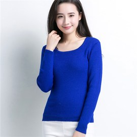 New women's sweater loose solid color woolen sweater spring bottoming sweater women's round collar pullover women's clothing