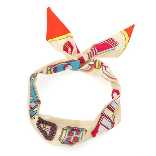 Korean fabric geometric printing ever-changing straight iron wire hair band wide side cross headband silk scarf hair accessories factory direct sales