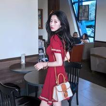 2020夏装新款小心机温柔sukol裙子超仙小个子复古收腰红色连衣裙