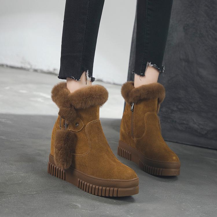 短靴女内增高雪地靴2018冬季新款磨砂女靴百搭厚底兔毛鞋子短筒