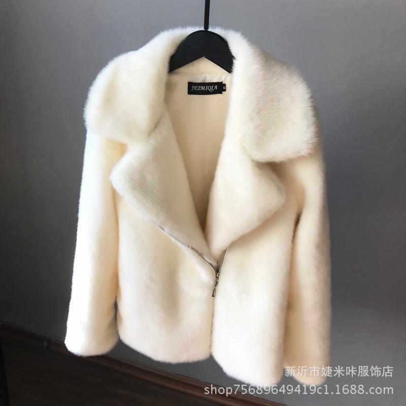 新款仿水貂皮草外套女韩版短款显瘦貂皮大衣机车服夹克毛毛外套