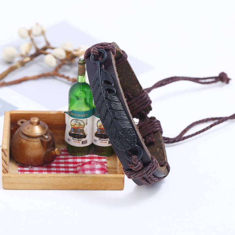Leather Fashion bolso cesta bracelet  black NHPK2087black