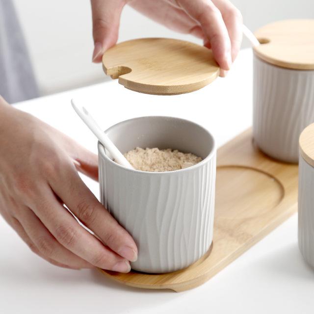 Bamboo mờ gốm gia vị jar mục lon thiếc tròn găng tay gia dụng sáng tạo hộp bếp gia vị Gift Set Gia vị