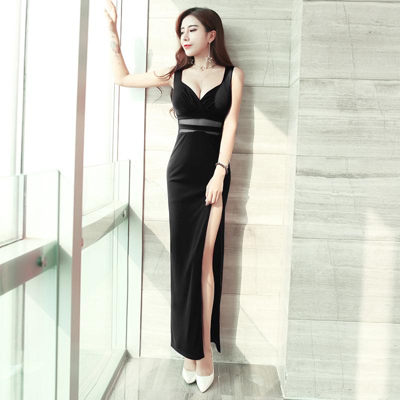 车模主持宴会礼服夜场低胸性感长裙修身开叉夜店2018新款一件代发