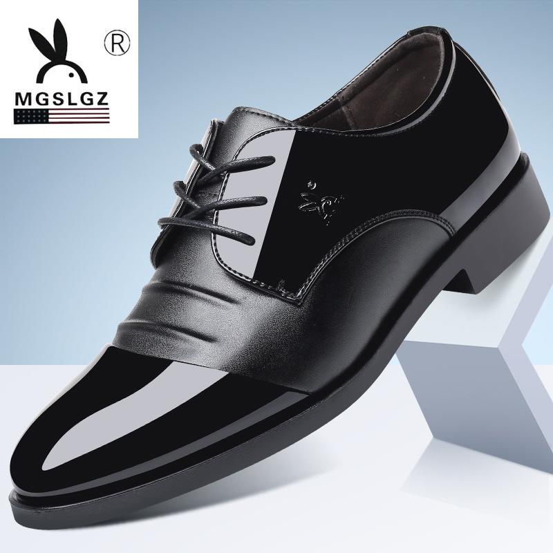 2020春季休闲正品男士商务正装皮鞋尖头低帮韩版漆皮英伦皮鞋代发