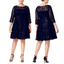 Europe and the United States new large size sequin embroidery lace party dress skirt sequins seven-point sleeves large waist dress